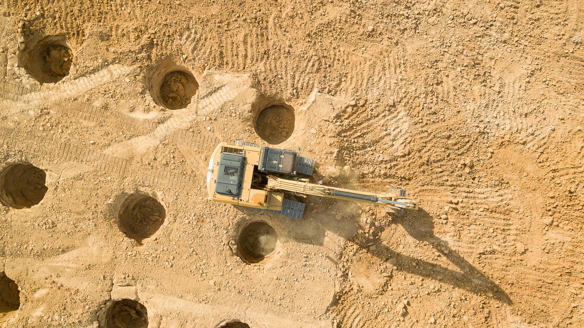 chantier BTP vue d'en haut